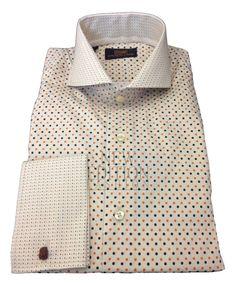 Steven Land Men's Polka Dot 100% Cotton French Cuff Dress Shirt DS1246 Beige #StevenLand