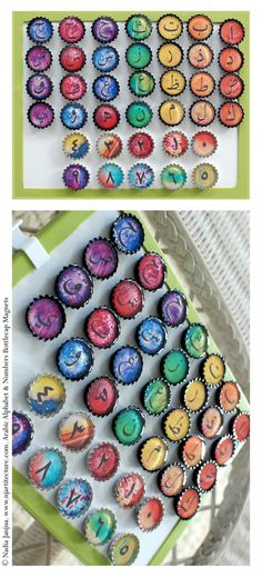 Arabic Alphabet & Numbers Bottlecap Magnets from Etsy Shop shopnjartitecture ($42.50)