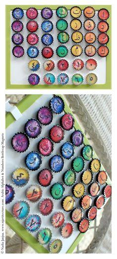 Arabic Alphabet & Numbers Bottlecap Magnets from Etsy Shop shopnjartitecture ($42.50)