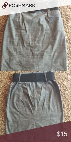 Gray Pencil Skirt Gray pencil stretch skirt with black elastic belt. It has a slit in the back. Worn just a couple times. Great for the office! Size 11. Skirts Pencil