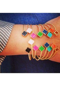 Colorful Cable Bracelet Stack - Baby Spade Bracelets SwellCaroline.com