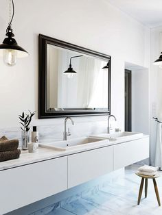 Modern vanity-- floating, square, white, clean.