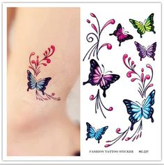butterfly tattoos for women on the shoulder | ... Design Body Art Painting Fake Tattoo Women Sexy Chest Shoulder Tattoo