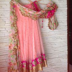 Blush pink lehenga with floral dupatta !  Too much elegance