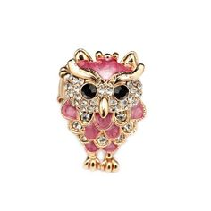 Fashion,sexy,owl rings, enamel owl ring, gold owl ring, stretch owl ring, cocktail owl ring, rhinestone owl ring, pink enamel owl ring, green enamel owl ring, owl jewelry, animal jewelry