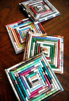 DIY-Square Upcycled  Magazine Coasters Ideas