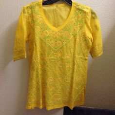 Embroidered cotton top NWOT Yellow top with embroidery in green and yellow. 100% cotton. Never worn, in new condition. Tops