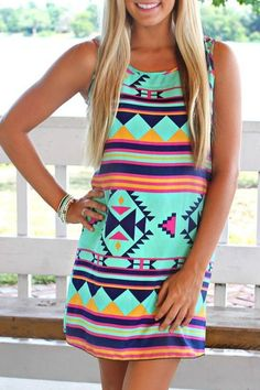 Geometric Print Scoop Neck Sundress