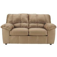 Flash Furniture Signature Design by Ashley Dominator Loveseat in Mocha Fabric. Contemporary Design. Plush Upholstered Arms. Mocha Fabric Upholstery. Bustle Back Cushions. Fixed Back. Loose Seat Cushions. CA117 Fire Retardant Foam.