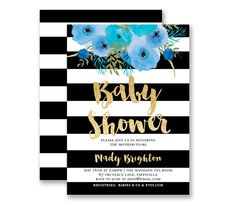 Boy Baby Shower Invitation Black & White Stripe Gold Glitter Look Modern It's A Boy Blue Flowers Contemporary Customized Party Invites - Mady style