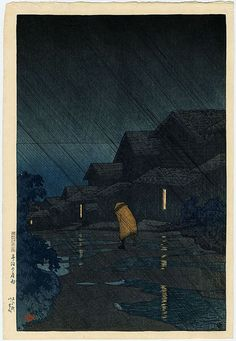 Kawase Hasui Title Evening Shower, Teradomari Medium Original Japanese Woodblock Print
