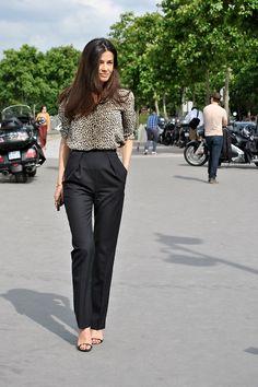 Black pants with a fun shirt