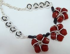 Deep Red Black and Silver Beaded Necklace by AndrassidyDesigns
