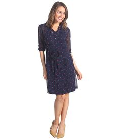 Donna Morgan Shirt Dress With Stitched Down Tucks