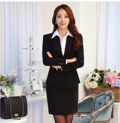 Quality 2020 bank uniforms lobby manager overalls financial insurance executives career suit women fall and winter with free worldwide shipping on AliExpress Mobile Business Professional Outfits, Business Dresses, Business Outfits, Business Attire, Business Women, Office Outfits For Ladies, Black Leather Pencil Skirt, Suits For Women, Clothes For Women