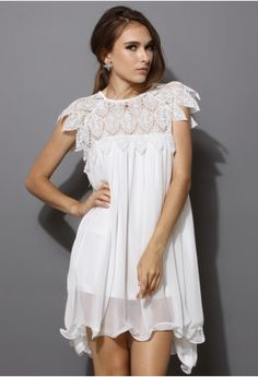 Swing White Dress with Lace Top - Retro White and Nude Collection - Dress - Retro, Indie and Unique Fashion