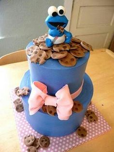 Cookie monster baby shower cake.... soooo freakin cute....