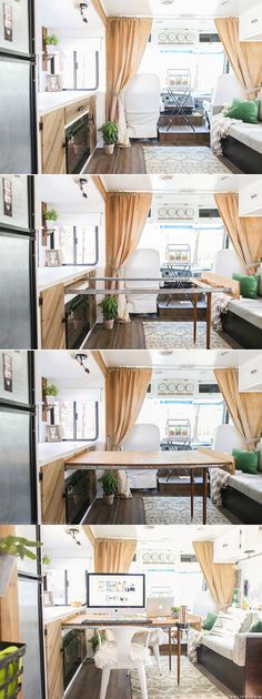 Great space saving table design for an RV. The TV is also hidden in that cabinet. It slides up behind the fireplace. Love that!