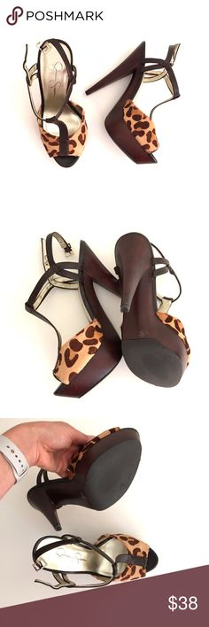 NWOT Wooden/F Fur Ultra high heels! Brand NEW Very comfy yet sexy & cute ultra high heel! With wooden platform and faux leopard upper! 7M ❌❌MINT CONDITION ❌❌ Jessica Simpson Shoes Platforms