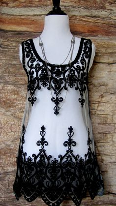 Sheer Beach Tunic with Black Embroidery