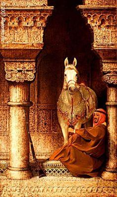 ♫..Arabian nights .♫ (Dig Art Photography, Arabian horse with Arabian man,I believe is from Morocco)