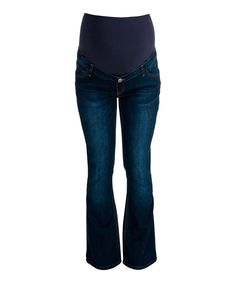 Loving this Stone Wash Over-Belly Maternity Bootcut Jeans on #zulily! #zulilyfinds