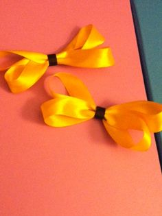 Simple Yellow Bows Clips!!  http://lrbowtiquetutu.storenvy.com/products/5184596-simple-yellow-bows-clips