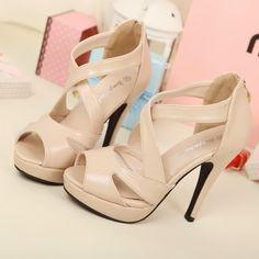 Women Stilettos Zips Platforms Strappy High Heels #Sandals #Open Toe #Shoes