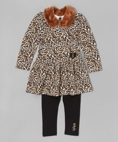 Loving this Beige & Black Leopard Dress & Leggings - Infant, Toddler & Girls on #zulily! #zulilyfinds