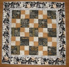 Quilted Table Topper Wall Hanging Black Gray Floral by HollysHutch