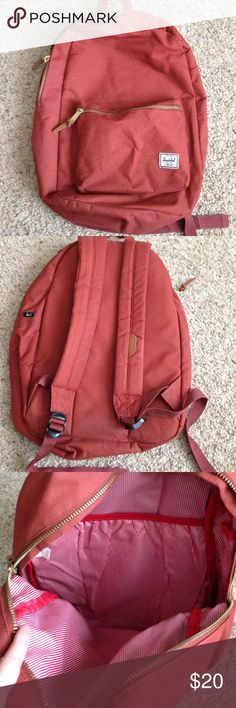 Herschel backpack Gently used Herschel backpack. Cute red/white pinstripe lining, laptop pocket. Outside zipper. Very few minor dirt marks and snags. Only problem is main zipper has doesn't zip well. If you know someone who could repair/replace it, this is a great backpack! Questions welcomed :) Herschel Supply Company Bags Backpacks