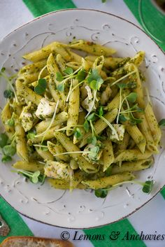 Pistachio Pesto is my go-to quick, no-cook sauce for easy dishes like this one with pasta and chicken.