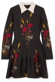 Valentino - Floral-print Wool And Silk-blend Mini Dress - Black Valentino Dress, Valentino Women, Valentino Camo, Midi Shirt Dress, Silk Dress, Couture Dresses, Flare Skirt, Ladies Dress Design, Floral Prints