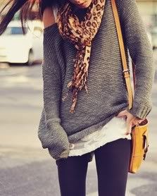 Lace tank, slubby oversized sweater, animal print scarf, adorable bag ... what