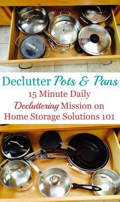 How to declutter pots and pans and other cookware, including 6 questions to ask yourself when doing this #Declutter365 mission {on Home Storage Solutions 101}