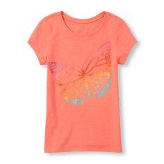 s Short Sleeve Rainbow Butterfly Glitter Graphic Tee - Orange T-Shirt - The Children's Place