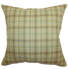 Decorate your home with this subtle and simple accent pillow. This throw pillow features a classic plaid print pattern in leaf hues: brown, green, white and yellow. This decor pillow will certainly lighten up your space with its refreshing color palette. Combine solid colors and patterns for a stylish home decor design. Made from 100% soft cotton fabric, this plush square pillow is great for snuggling. $55.00   #plaid  #pillows  #homedecor  #tosspillow