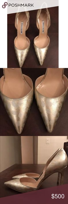 Manolo Blahnik Brand new! In perfect condition . No damage or repairs needed, Gorgeous 4 inch heel. Very comfortable . Dress up or down . Soft gold with print . Stunning !! Appears to fit true to size. Tag sticker still on the back . Manolo Blahnik Shoes Heels