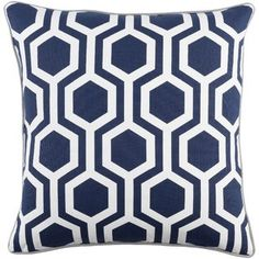 Artistic Weavers Inga Thea 18 Inch Pillow Cover And Poly Insert Modern Throw Pillows, Throw Pillow Sets, Outdoor Throw Pillows, Decorative Pillows, Accent Pillows, Trellis Pattern, Hexagon Pattern, Navy And White, White Light
