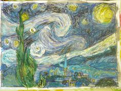 starry night art lesson from practicalpages.wordpress.com