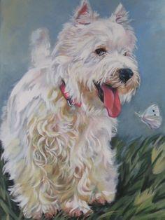 West Highland Terrier Làmina impresión lienzo de arte Shepard
