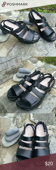 Woman's 7.5 Aravon black leather sandals Great condition light wear. All leather velcro straps to adjust to perfect fit. Your feet will loves these shoes. Half wedge heel. Smoke free home. Aravon Shoes Sandals
