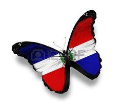Bandera de la República Dominicana mariposa, aislado en blanco
