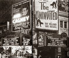 The Uninvited (1944) advertised on a theater marquee.