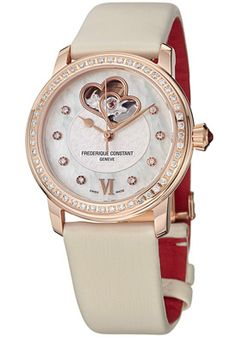 Frederique Constant Ladies Automatic Mother of Pearl Dial White Satin on Leather Watch - $3,604.99