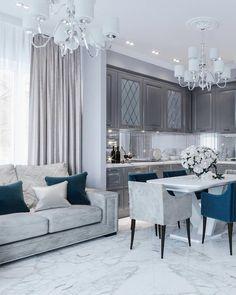 Кухня-гостиная частного дома в Краснодаре. Проектирование и реализация интерьеров. ___________________________________________________… #uniquehomedecor