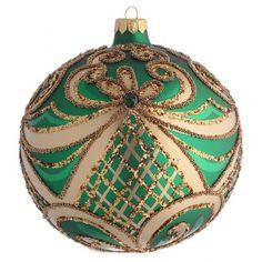 Bola de Navidad vidrio soplado verde y oro 150 mm   venta online en HOLYART