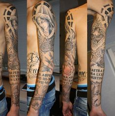 Christian Religious Sleeve Tattoos ~ http://tattooeve.com/religious-tattoos-design-on-sleeve/ Tattoo Design