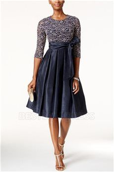 A-Line/Princess Jewel Neck Knee-length Mother of the Bride Dress With Lace Beading Sashes/Ribbons Pleated