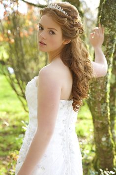#vintage #lace #wedding dress with simple #tiara with half down #hair.  Photo shoot at Ta Mill